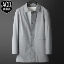 Windbreaker Grey black white AOD / otimo Fashion City 170/M 175/L 180/XL 185/2XL 190/3XL Single breasted Medium length standard Other leisure spring middle age Lapel Business Casual LHW-AOD-208803 Polyester 100% Solid color No iron treatment Three dimensional bag Brocade polyester Button decoration
