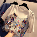 T-shirt White blue Average size Summer of 2018 Short sleeve Crew neck Fake two pieces Regular routine cotton 30% and below Splicing Sequin stitching