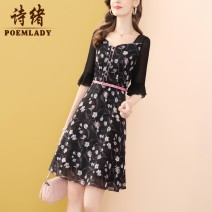 Dress Summer 2021 black S M L XL XXL XXXL Middle-skirt singleton  elbow sleeve commute middle-waisted Decor zipper A-line skirt routine 35-39 years old Type A POEMLADY Ol style Three dimensional decorative button zipper printed belt with pleated stitching P21CL54709 More than 95% polyester fiber