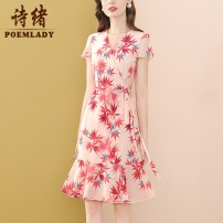 Dress Summer 2021 Decor S M L XL XXL XXXL Middle-skirt singleton  Short sleeve commute V-neck middle-waisted zipper A-line skirt routine 35-39 years old Type A POEMLADY Simplicity Bow fold tie stitching strap zipper print P21XL55321 More than 95% polyester fiber Polyester 100%