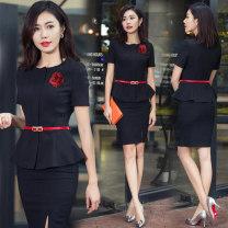 Professional dress suit Summer 2018 Short sleeve Suit skirt Shirt coat other styles C28S28 25-35 years old AI Shangchen Polyester 96% polyurethane elastic fiber (spandex) 4% Pure e-commerce (online sales only) XXL XXXL S M L XL
