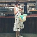 Dress Other / other Blue, white M,L,XL,XXL Korean version Sleeveless Medium length summer Crew neck Dot Chiffon