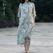 Dress Spring 2020 green Average size Mid length dress singleton  three quarter sleeve commute stand collar Loose waist Broken flowers Single breasted other routine Others 40-49 years old Type A Know the brush and ink Retro Pocket, asymmetric, button, print FXZP T20001 More than 95% other hemp