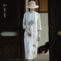 Dress Summer 2020 Off white rubbing double Palace cheongsam Average size Mid length dress singleton  elbow sleeve commute stand collar Loose waist Decor Single breasted other other Others 35-39 years old Type H Know the brush and ink Retro Button, print YS 20205B More than 95% other hemp