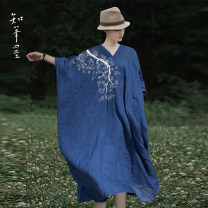 Dress Summer 2021 Blue [pre sale] Average size longuette singleton  three quarter sleeve commute V-neck Loose waist Solid color Socket other Bat sleeve Others 35-39 years old Type H Know the brush and ink Retro fold , tie-dyed , Make old XG 317 More than 95% other hemp