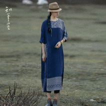 Dress Spring 2021 blue Average size longuette singleton  elbow sleeve commute Crew neck Loose waist Solid color Socket other routine Others 35-39 years old Type A Know the brush and ink Retro Old, button, pocket, stitching, embroidery, pleating CX 21C034 More than 95% other hemp