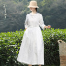 Dress Summer 2021 white S,M,L,XL longuette singleton  three quarter sleeve commute other Loose waist Solid color Three buttons other routine Others 35-39 years old Type A Know the brush and ink literature More than 95% other hemp