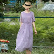 Dress Summer 2020 Smoke purple M,L,XL Mid length dress singleton  Short sleeve commute Crew neck middle-waisted Solid color Socket other routine Others 35-39 years old Type A Know the brush and ink literature Pocket, lace up ZWZJ 427 More than 95% hemp