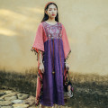 Dress Summer 2021 Purple, blue Average size longuette singleton  three quarter sleeve commute Crew neck Loose waist Animal design Socket Big swing Bat sleeve Others 35-39 years old Type A Know the brush and ink ethnic style Tie flower, button, pocket, print, lace up, fold CX 21C058 More than 95% hemp