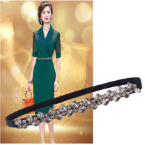 Belt / belt / chain other female Waist chain Sweet Single loop Smooth button Diamond inlay soft surface 1.5cm stainless steel 65cm