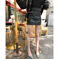 skirt Autumn of 2019 S,M,L black Short skirt street Natural waist A-line skirt Solid color Type A 25-29 years old 31% (inclusive) - 50% (inclusive) other Other / other PU Nail bead Europe and America