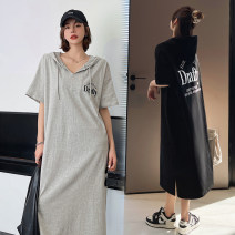 Dress Summer 2021 Gray, black L,XL,2XL,3XL longuette singleton  Short sleeve street Hood Loose waist letter Socket routine Type H printing 91% (inclusive) - 95% (inclusive) knitting cotton Sports & Leisure