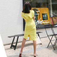 Dress Summer 2020 White, yellow, black S,M,L,XL Miniskirt singleton  Sleeveless commute V-neck High waist zipper other Others 18-24 years old Ol style Splicing