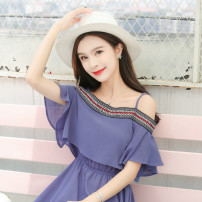 Dress Summer of 2019 White, pink, blue S,M,L,XL longuette singleton  commute One word collar Elastic waist Socket Big swing camisole Type H Other / other Chiffon