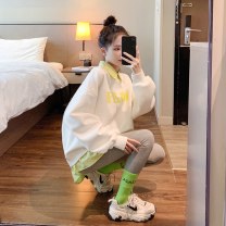 Sweater / sweater Winter 2020 Green blue pink Average size Long sleeves routine Socket Fake two pieces routine Polo collar easy commute routine letter 18-24 years old 31% (inclusive) - 50% (inclusive) Fenlan Korean version polyester fiber FL20122327 printing Cotton liner