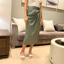 skirt Summer 2020 S,M,L green Mid length dress Natural waist skirt polyester fiber