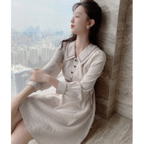 Women's large Spring 2021 Dress L XL S M Dress singleton  commute Self cultivation moderate Socket Long sleeves lattice Korean version Polo collar routine Three dimensional cutting bishop sleeve Princess Tina 25-29 years old Embroidery Middle-skirt Pure e-commerce (online only) other zipper