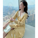 Women's large Spring 2021 Dress L XL S M Dress singleton  commute Self cultivation moderate Cardigan Long sleeves Korean version Polo collar Medium length polyester fiber Three dimensional cutting bishop sleeve Princess Tina 25-29 years old Button 96% and above Medium length other