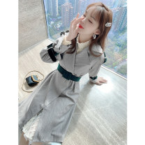 Women's large Winter 2020 Dress S M L XL Dress singleton  commute easy moderate Cardigan Long sleeves Solid color Korean version other routine polyester fiber Three dimensional cutting other Princess Tina 25-29 years old 71% (inclusive) - 80% (inclusive) Middle-skirt Pure e-commerce (online only)