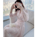 Women's large Spring 2021 Dress S M L XL Dress singleton  commute Self cultivation moderate Socket Long sleeves Solid color Korean version other Medium length polyester fiber Three dimensional cutting routine Princess Tina 25-29 years old Sequins 96% and above Medium length Princess Dress