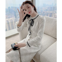 Women's large Winter 2020 Dress L XL S M Dress singleton  commute Self cultivation moderate Cardigan Long sleeves other Korean version other Medium length polyester fiber routine Princess Tina 25-29 years old Button 96% and above Medium length Polyethylene terephthalate (polyester) 99% other 1% other