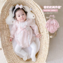 Jumpsuit / climbing suit / Khaki Other / other Class A female Pink + Hair Band 66cm,73cm,80cm,90cm other spring and autumn Long sleeves Trigonometry Korean version There are models in the real shooting nothing Polyester 100% Socket hy66555 3 months, 6 months, 12 months, 18 months, 9 months Shanghai