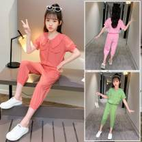 suit Other / other Pink, watermelon red, Avocado Green 110cm,120cm,130cm,140cm,150cm,160cm female summer Original design Short sleeve + pants 2 pieces Thin money There are models in the real shooting Single breasted nothing other other children Expression of love Class B Chinese Mainland Shanghai