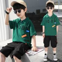 suit Other / other Green, lotus, light grey 110cm,120cm,130cm,140cm,150cm,160cm male summer leisure time Short sleeve + pants 2 pieces Thin money There are models in the real shooting Socket nothing other other children Expression of love Class C Chinese Mainland Shanghai