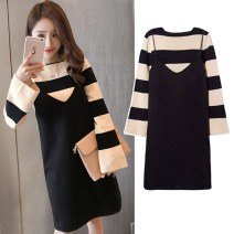 Dress Other / other Strap skirt + striped top, strap + Top + black leggings M,L,XL,XXL Korean version Long sleeves Medium length spring Crew neck stripe