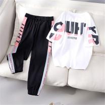 Casual suit Summer 2020 Black short sleeves + pink pants, white short sleeves + black pants S,M,L,XL,XXL