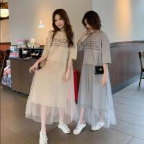 Dress Summer 2020 Apricot, grey longuette singleton  Short sleeve commute Crew neck letter Socket other routine Others 18-24 years old Korean version polyester fiber