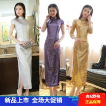 cheongsam Spring 2020 S,XL,L,M,XXL,XXXL,4XL Gold, high purple, silver flash, tulau Short sleeve Retro perform Ruyi lapel 25-35 years old Piping Thousand feet other