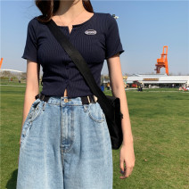 T-shirt Turmeric and indigo S M L XL Summer 2021 Short sleeve Crew neck Self cultivation have cash less than that is registered in the accounts routine commute other 96% and above 18-24 years old Korean version Love in love KLC6261 Other 100% Pure e-commerce (online only)