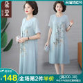 Middle aged and old women's wear Summer 2021 Light blue please look forward to 1 please look forward to 2 please look forward to 3 please look forward to 4 please look forward to 5 fashion Dress easy singleton  Decor 40-49 years old Socket thin Crew neck Medium length routine asfds3054 Embroidery