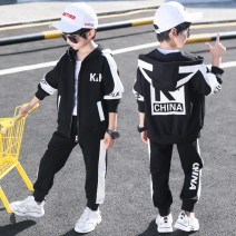 suit Star fun Black red blue yellow lfm6808 (denim cover) 4 5 6 8 9 10 11 12 110cm 120cm 130cm 140cm 150cm 160cm 170cm male spring and autumn leisure time Long sleeve + pants 2 pieces routine There are models in the real shooting Zipper shirt No detachable cap other children Learning reward Class B