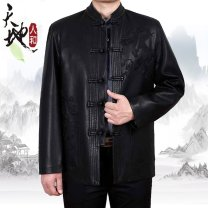 leather clothing Others Business gentleman Black, black flat 170/M,175/L,180/XL,185/XXL,190/XXXL,195/4XL routine Leather clothes stand collar easy Single breasted winter leisure time old age Chinese style Straight hem Mingji thread patch bag Arrest line No iron treatment Animal pattern