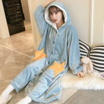 Pajamas / housewear set Simetide Average size Light grey, lake blue Long sleeves Sweet Winter, autumn thickening stand collar youth Knitted cotton fabric