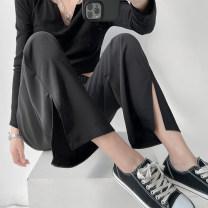 Casual pants Black grey carambola green haze blue S M L XL Spring 2021 trousers Wide leg pants High waist Versatile routine 18-24 years old C20506-1 Lanmengya Polyester 95% polyurethane elastic fiber (spandex) 5%