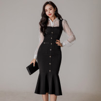 Dress Spring 2021 Black [suit skirt] S,M,L,XL longuette Two piece set Long sleeves commute Polo collar High waist Solid color Single breasted Ruffle Skirt routine 25-29 years old Type H Korean version Ruffles, stitching, buttons, zippers, lace