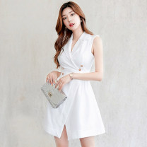 Dress Summer of 2019 White, black S,M,L,XL Short skirt singleton  Sleeveless commute tailored collar High waist Solid color zipper A-line skirt Others 18-24 years old Korean version Stitching, asymmetry, buttons