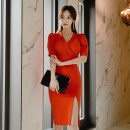 Dress Spring 2020 Orange S,M,L,XL Mid length dress singleton  Short sleeve commute V-neck High waist Solid color zipper Pencil skirt Others 18-24 years old Korean version zipper