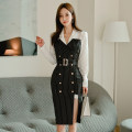 Dress Autumn 2020 black S,M,L,XL Mid length dress singleton  Long sleeves commute V-neck High waist stripe double-breasted One pace skirt routine 18-24 years old Korean version Lace up, panel, button