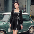 Dress Autumn 2020 White, black S,M,L,XL Short skirt singleton  Long sleeves commute square neck High waist Solid color zipper A-line skirt other Others 18-24 years old Type A Korean version Panel, button, zipper other