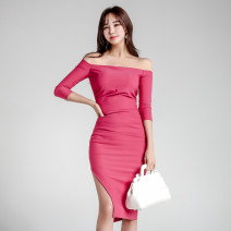 Dress Autumn of 2019 rose red S,M,L,XL Mid length dress singleton  three quarter sleeve commute One word collar High waist Solid color zipper Pencil skirt Others 18-24 years old Korean version Open back, zipper