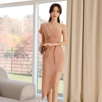 Dress Spring 2020 Picture color S,M,L,XL Mid length dress singleton  Short sleeve commute One word collar High waist Solid color zipper Pencil skirt Breast wrapping 18-24 years old Korean version Open back, stitching, asymmetric, zipper