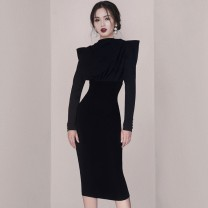 Dress Winter 2020 black S,M,L,XL Mid length dress singleton  Long sleeves commute stand collar High waist Solid color zipper One pace skirt raglan sleeve 25-29 years old Korean version Bowknot, open back, lace up, stitching, button, zipper