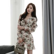 Dress Autumn 2020 Decor S,M,L,XL Short skirt singleton  Long sleeves commute V-neck High waist Decor zipper Ruffle Skirt routine 18-24 years old Korean version Ruffle, stitching, zipper, print
