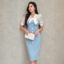 Dress Summer 2020 blue S,M,L,XL Mid length dress singleton  Short sleeve commute V-neck High waist Solid color zipper One pace skirt puff sleeve 18-24 years old Korean version Bowknot, lace up, stitching, button, zipper