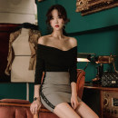 Fashion suit Winter of 2019 S,M,L,XL Black [single top], grey [single skirt] 18-25 years old