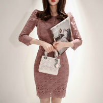 Dress Spring of 2019 Picture color S,M,L,XL Mid length dress singleton  three quarter sleeve commute Crew neck High waist Solid color zipper Pencil skirt Others 18-24 years old Korean version Zipper, lace